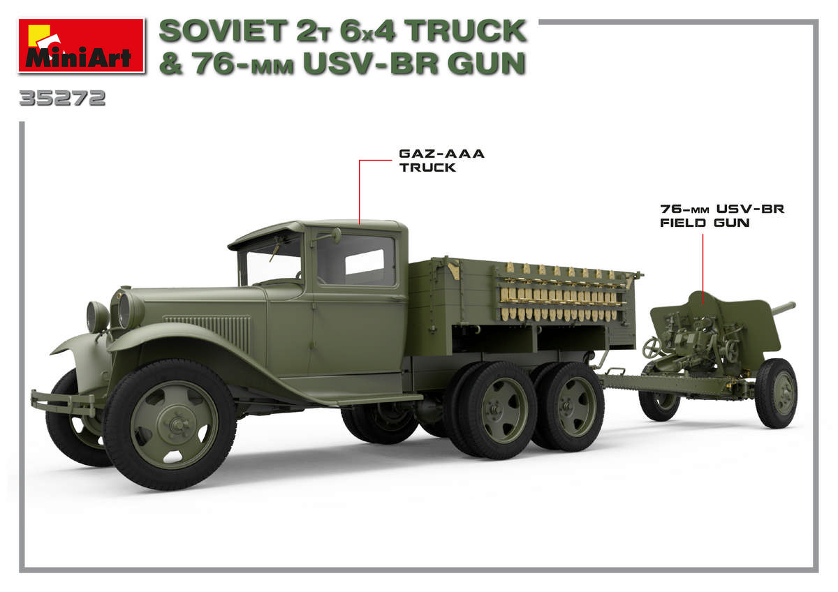 1/35 Советский 2-х Тонный грузовик 6X4 с 76-мм УСВ-БР Пушкой 35272