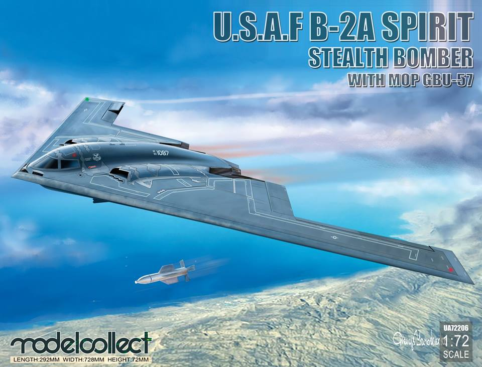 UA72206 USAF B-2A Spirit Stealth Bomber with Mop GBU-57