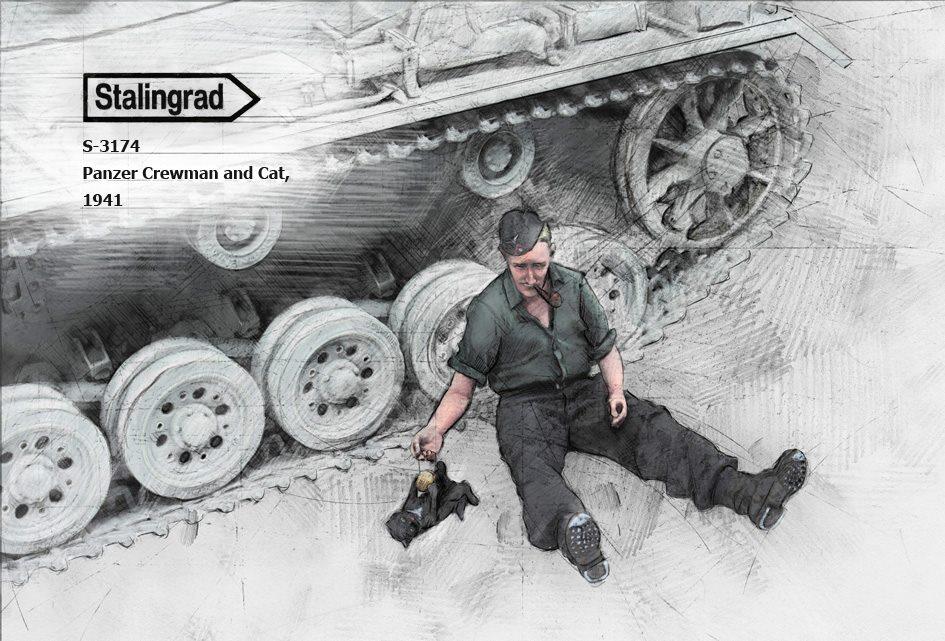 S-3174 Panzer Crewman and Cat, 1941
