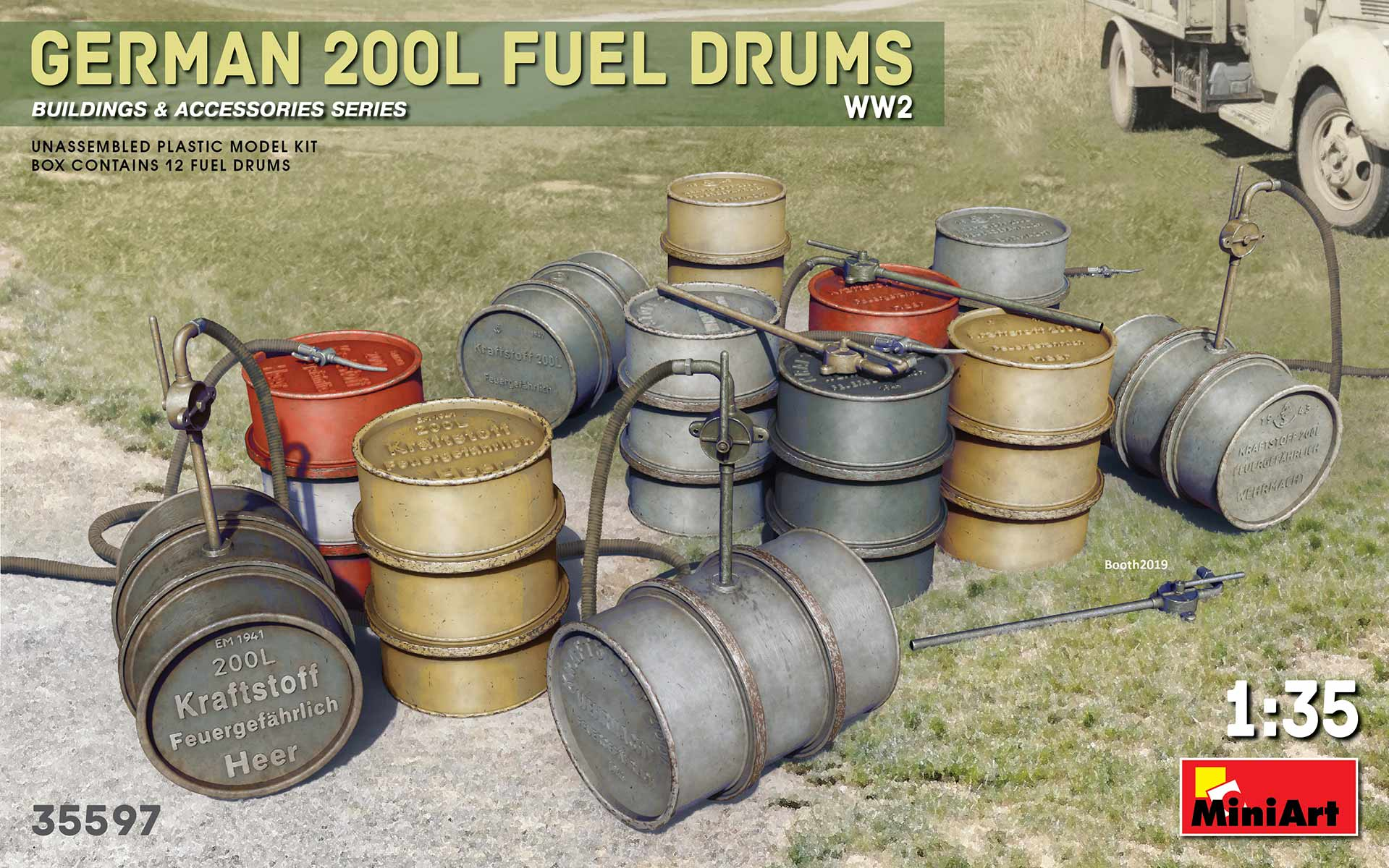 1/35 GERMAN 200L FUEL DRUM SET WW2 35597