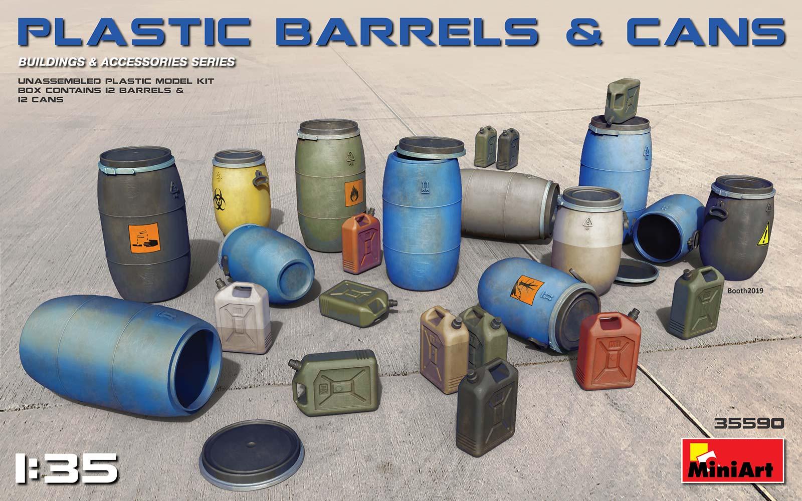 1/35 PLASTIC BARRELS & CANS 35590