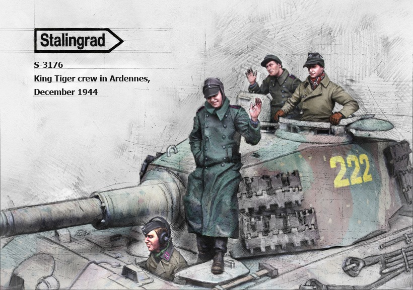 1/35 King Tiger crew in Ardennes, December 1944 (3 figures + 1 bust) # 3176