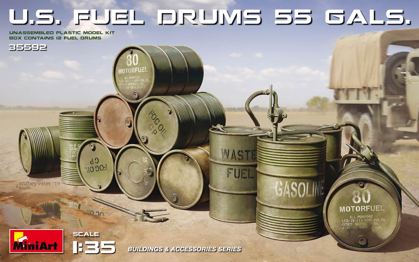 1/35 U.S. FUEL DRUMS 55 GALS. | Американские Бочки с Топливом 50 Гал. 35592