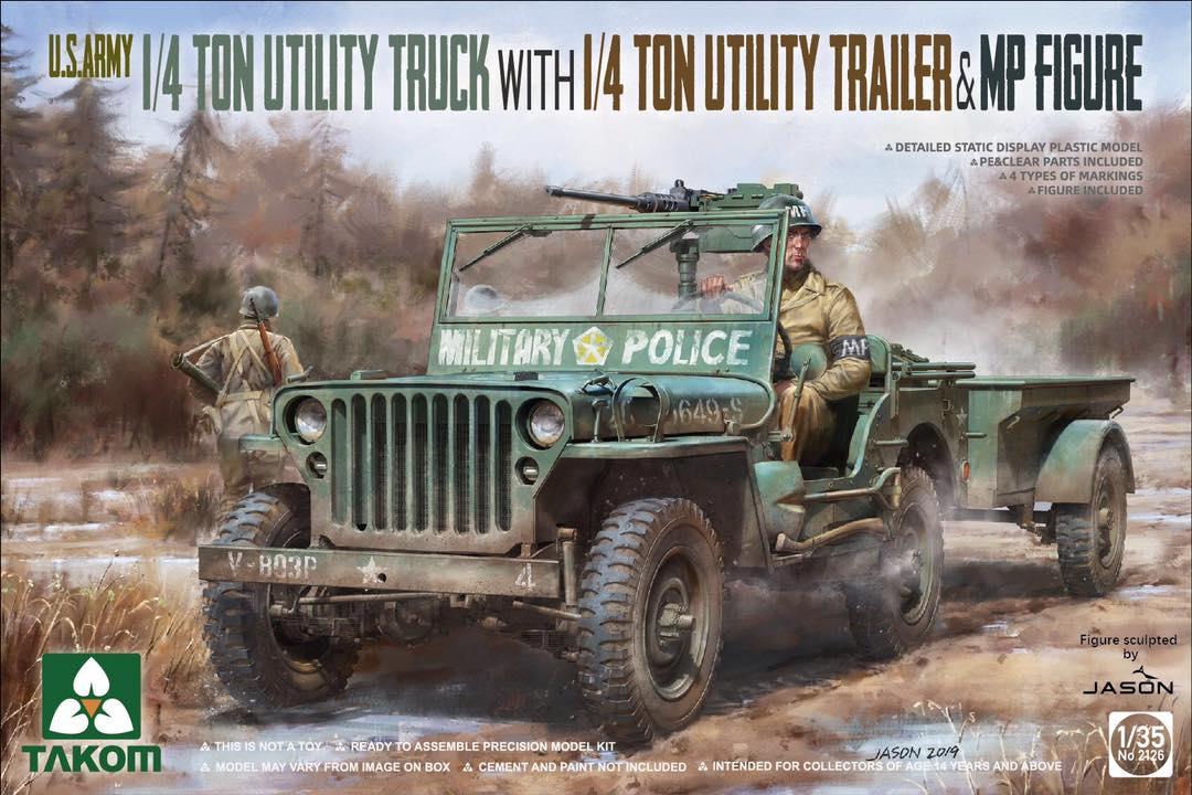 1/35 US Army 1/4 Ton Utility Truck w/ 1/4 Ton Utility Trailer & M.P. Figure #2126
