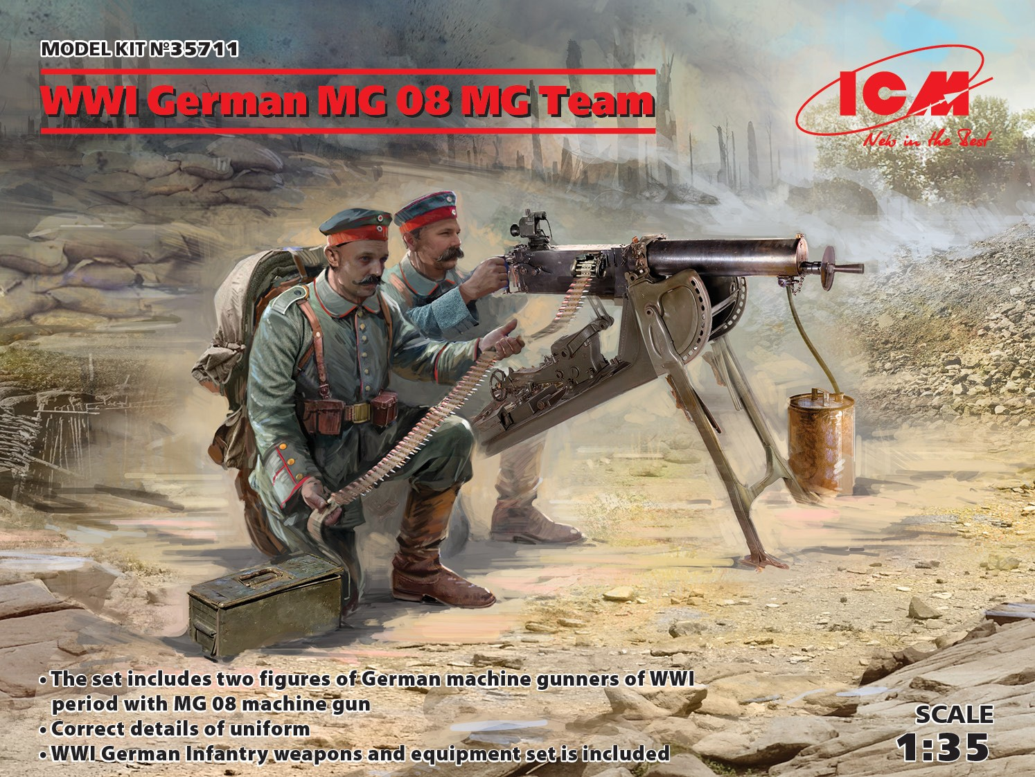 1/35 WWI German MG08 MG Team (2 figures) (100% new molds) 35711