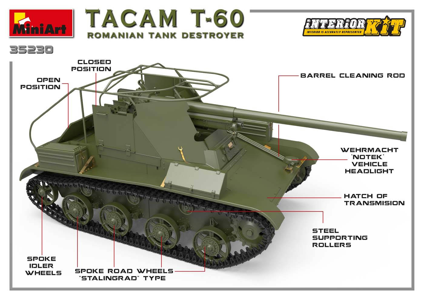 1/35 TACAM T-60 ROMANIAN TANK DESTROYER. INTERIOR KIT 35230